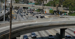 4K Freeway Traffic 28 LA Downtown Stock Footage