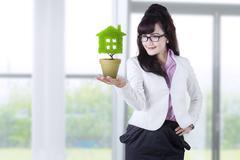 businesswoman holds plant in pot  - stock illustration
