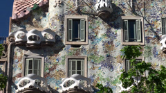 Types of Casa Batlló (House of Bones). Central facade. Stock Footage