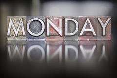 Monday letterpress Stock Photos