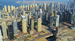 Aerial view Dubai Sheikh Zayed Road Stock Footage