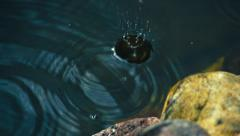 Stock video footage rain pond water drops slow motion 2 Stock Footage