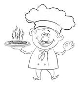 Cook holds a hot pizza, contour Stock Illustration