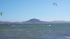 Kitesurfers riding in sea. La Manga, Spain. Stock Footage