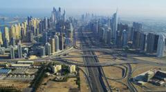 Aerial view Dubai Sheikh Zayed Interchange Stock Footage