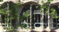 Types of Casa Batlló (House of Bones). Window facade  of the  Noble Floor. Stock Footage