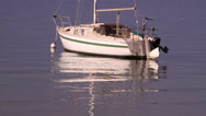 Boat reflection in ripples Stock Footage