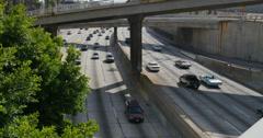 4K Freeway Traffic 29 LA Downtown Stock Footage