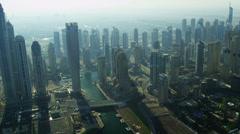 Aerial Skyline view Dubai city Stock Footage