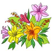 Flower background, lily and mine - stock illustration