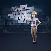 Engineer leader using futuristic interface Stock Illustration