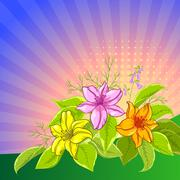 Floral background, lily and mine Stock Illustration