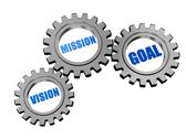 Stock Illustration of vision, mission, goal in silver grey gears