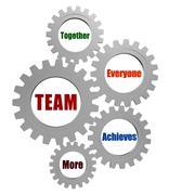 team in silver grey gearwheels - stock illustration