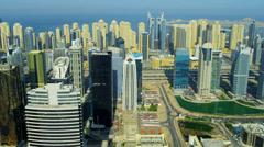 Aerial view of Jumeirah Lake Towers, Dubai Stock Footage