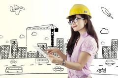 female contractor using digital tablet - stock illustration