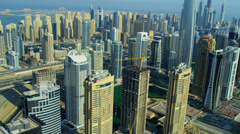 Aerial view of Dubai city skyscrapers Stock Footage