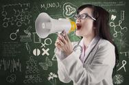 Stock Illustration of female physician annoucing news