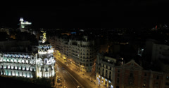 4K video looking down over the Edificio Metropolis at night, Madrid, Spain Stock Footage