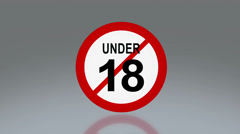 Adult sign under 18 sign Discount promotion month Stock Footage