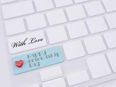 happy friendship day, heart on enter key - stock illustration