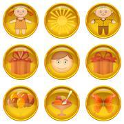 Buttons set, childhood - stock illustration