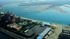 Aerial view Palm Atlantis, Dubai Stock Footage