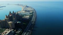 Aerial view Palm Atlantis, Dubai - stock footage