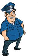 Fat jolly cartoon policeman Stock Illustration