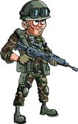 Illustration of cartoon soldier with a rifle Stock Illustration