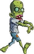 cartoon stalking zombie writ ripped clothes - stock illustration