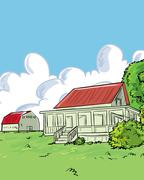 Illustration of farmhouse in a green Stock Illustration