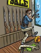 stealing guns from a gun shop - stock illustration