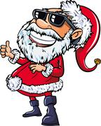 Santa wearing sunglasses with a big smile Stock Illustration