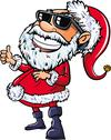 Stock Illustration of santa wearing sunglasses with a big smile