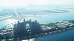 Stock Video Footage of Aerial view Palm Atlantis, Dubai