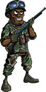 Stock Illustration of cartoon soldier with a shotgun
