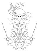 Noble fencer, contour - stock illustration