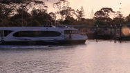 Ferry leaving station Stock Footage