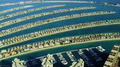 Aerial view of Palm Jumeirah Dubai Stock Footage