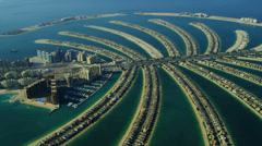Aerial view of Palm Jumeirah, Dubai Stock Footage