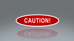 Oval signage of caution Stock Footage