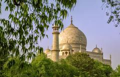 taj mahal , a famous historical monument on india - stock photo