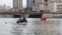 Chinese traditional dragon boat racing Stock Footage