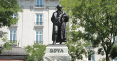 4K Monument to Francisco de Goya beside the Prado Museum in Madrid (Spain) Stock Footage