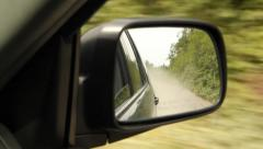 Dust in rearview mirror. Stock Footage