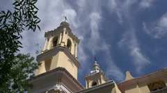 Tower from the Basílica de Nuestra Señora de La Merced in Cordoba Stock Footage