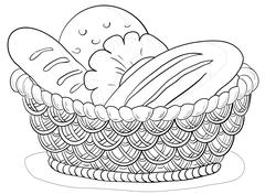 Bread in a basket, contour Stock Illustration