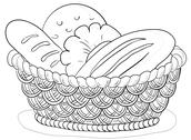 Stock Illustration of Bread in a basket, contour