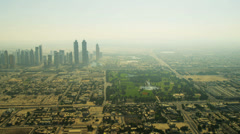 Aerial view of city skyscrapers   downtown Dubai Stock Footage